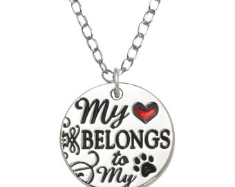 Rhodium Plated Pet Lover Necklace - My Heart Belongs to My Dog