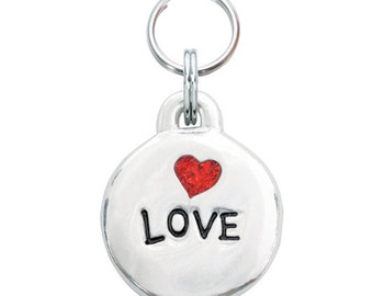 Pewter Heart Pet Tag - Love