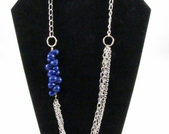 Blue Polymer Clay & Multi Strand Silver Chain Necklace