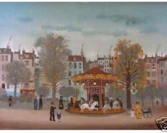 """Michel Delacroix  """"Carousel"""" Limited Edition Lithograph-- Stone Signed Print"""