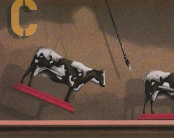 "James Carter  ""Toy Cow""  Original Serigraph-- (From the 1986 series: Toy Maker)"