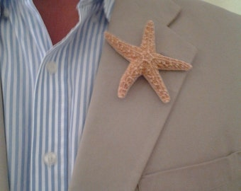 Natural Sugar Starfish Beach Wedding Boutonniere Groomsmen Ring Bearer Gift