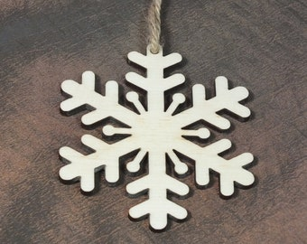 10 Wooden Snowflakes Wall Decoration Rustic Gift Unpainted Hanging Shape Tag