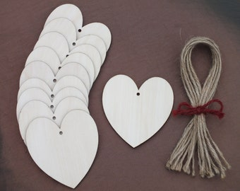 10 Wooden Hearts Gift Tags Wedding Table Place Names Favours Blank Shapes Invitation  5 cm, 6.5 cm, 8 cm, & 10 cm hearts
