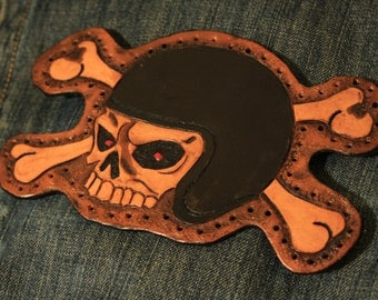 Custom Leather Patch - Racer Skull & Crossbones