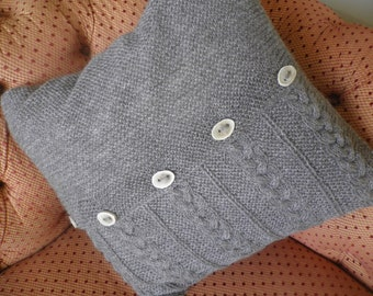 Hand Knitted Cushion - Design 2 (Silver)