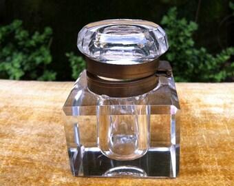Vintage Lead Crystal & Brass Ink Well