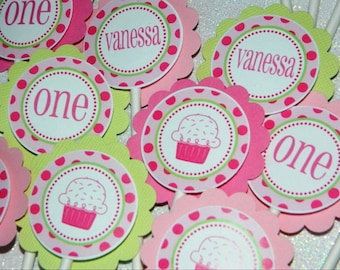 Cupcake Birthday Party - Assembled Cupcake Toppers - Vanessa Cupcake Theme Hot Pink and Lime Green