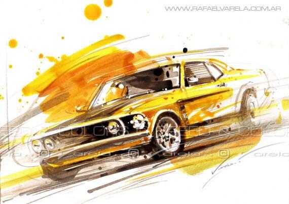 Ford Mustang Boss 1969 Original fine art by