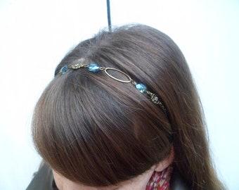 head band / head band bronze tone blue Sapphire
