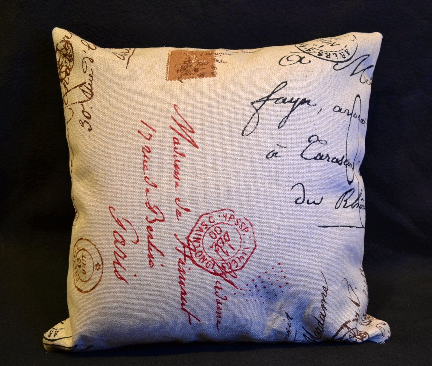 Decorative throw pillow covers. Postal French script print on