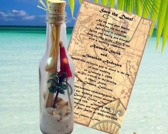 Message In A Bottle Invitations, Announcements Palm Paradise   Beach  Weddings, Destination Wedding Or