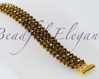 Bronze Copper Gold Dorado Swarofski Crystal Woven Beaded Bracelet Wedding Accessory Elegant