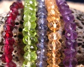 AAA Mixed Faceted Rondelles. 50 beads. Garnet, Peridot, Iolite, Topaz and Amethyst.