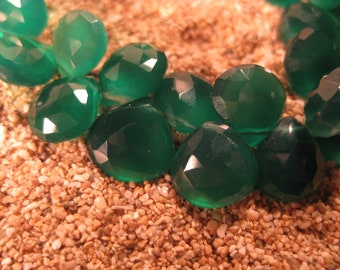 AAA Green Onyx Faceted Heart Briolettes 2 Beads