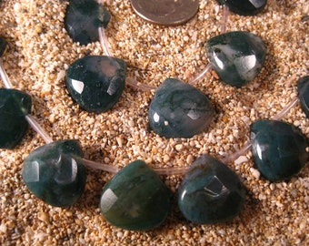 Large 15X15mm Moss Agate Faceted Heart Briolette Half Strand 13 Beads