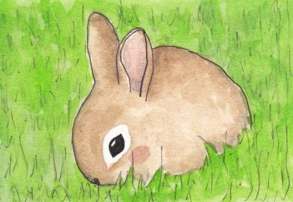 Cute bunny original aceo watercolor painting by lovelyelika for Cute watercolor paintings