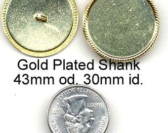 Button Shanks 10 - 43mm Gold Plated Metal - item J008BS