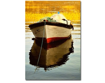 Boat photography, Landscape  photography, Lake photography, fine art photography, Home Decor, lake, boat, yellow, colour, 10''x 15 ''inch.