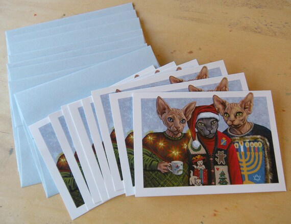Holiday Hairless Cat Greeting Cards Pack of 8