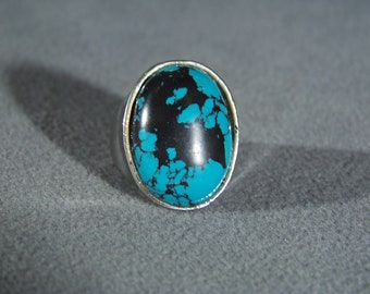 Vintage Silver Tone Large Domed Oval Faux Turquoise Bold Art Deco Style Band Ring 7.5