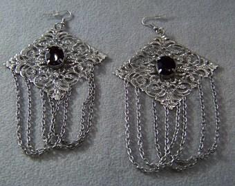 """Vintage  Silver Tone  2 Oval Jet Black Rhinestone Huge Fancy Filigree Art Deco Style 3.5 """" Long Euro Wire Dangle Pierced Earrings"""