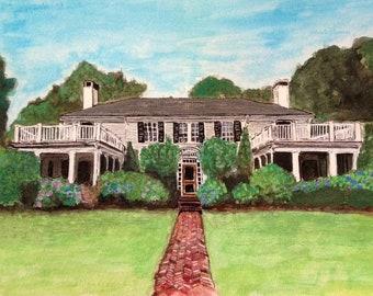 Original Custom House Portrait - Watercolor and Ink 8x10