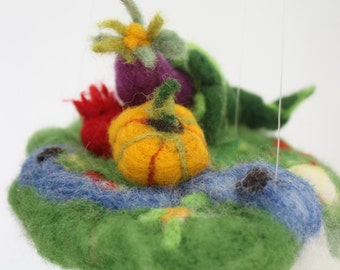 Abundance felted vegetables mobile ornament, Horn of Plenty, Cornucopia, Jewelry pillow, farm decor housewarming, waldorf toy, felted story