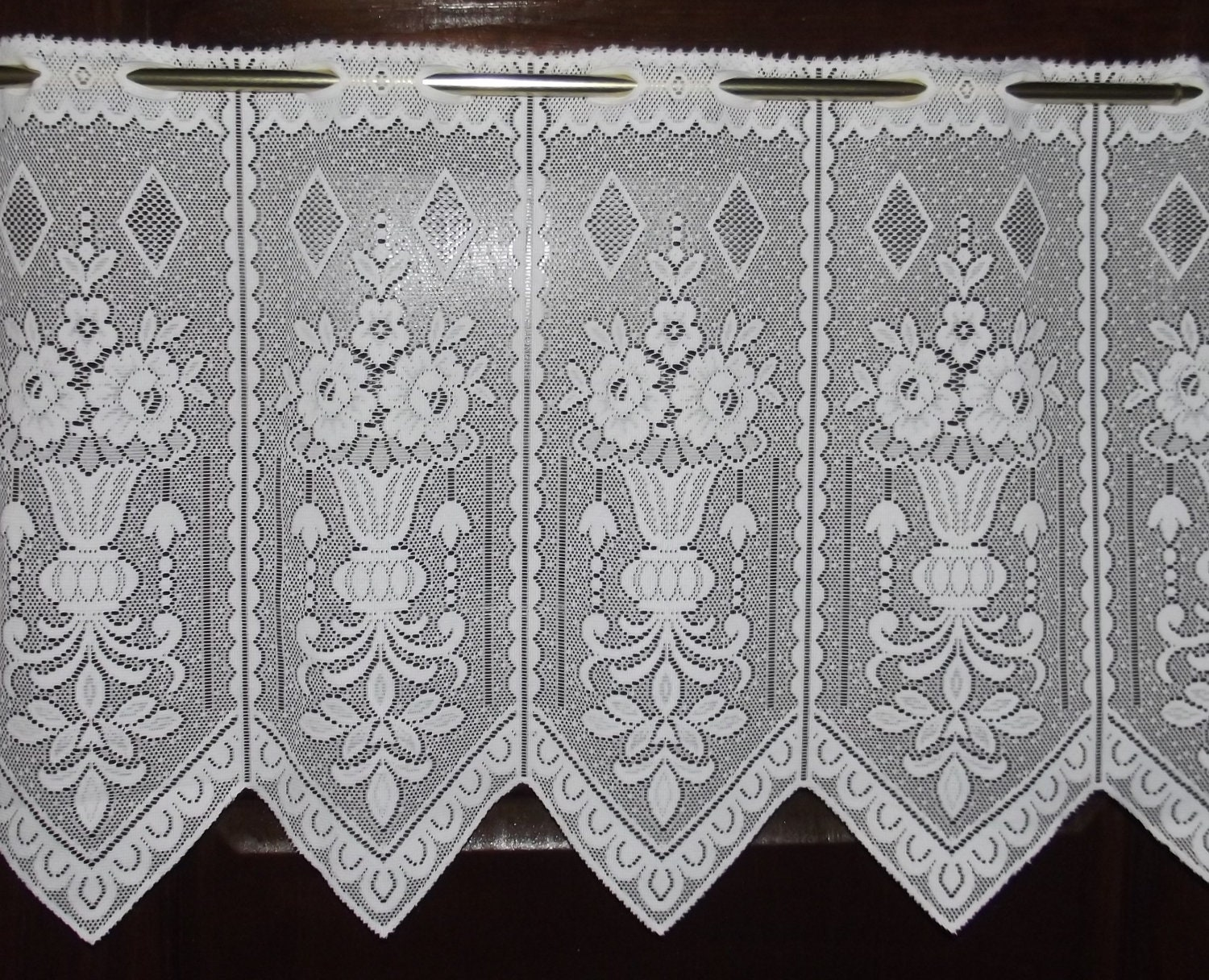 vintage white lace curtain dentelle by naphtalinemori7 on etsy