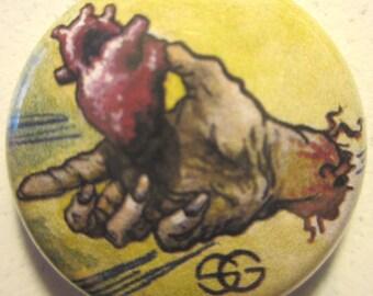 Valentine Zombie Heart Illustration Button