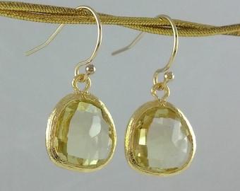Lemon Glass Earrings- 14k Gold Filled Ear Wires