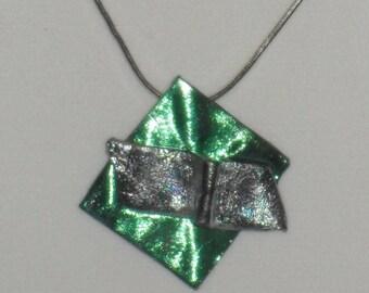 SALE-Green, blue, and purple art plastic pendant