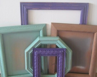 Boho Wall Collage Set, Jade, Purple, and Copper Photo Frames, Gallery Wall Frame Set