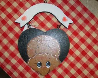 Wooden Gingerbread  Heart Plaque