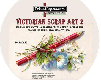 208 Victorian Scrap images on CD Volume 2 - Victorian Trading Cards and Scrap Art from the 1850s to the 1900s, high resolution 300dpi