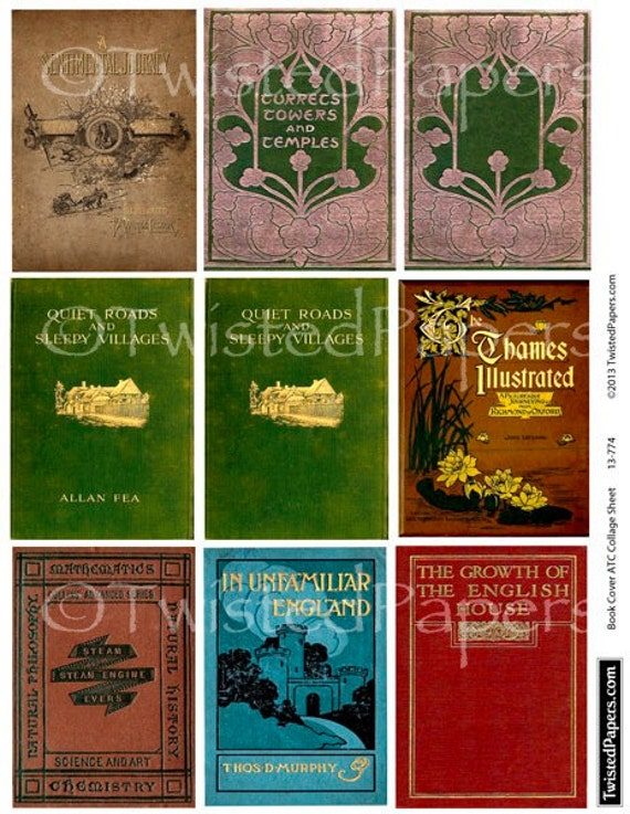 Book Cover Collage Name : Antiquarian book covers collage sheet for atc aceo
