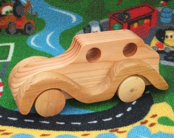 Beautiful, handmade, high quality, large wooden toy car (Coupe).