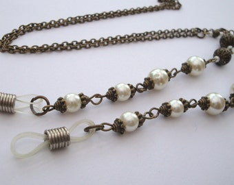 Glasses spectacles chain vintage style bronze & pearl