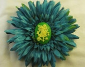 Blue and green Hair Flower with Yellow on Green Fairy Cabochon