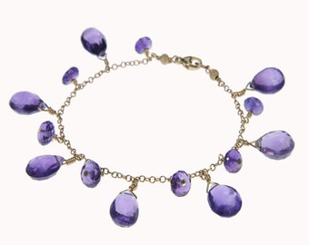 Amethyst drop gold bracelet