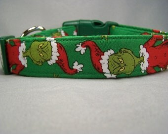 Green The Grinch Christmas Dog Collar Large Dog Small Dog Gift