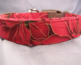 Red Poinsettia Christmas Dog Collar