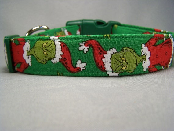 Green Mr. Grinch Dog Collar