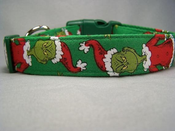 Green Mr. Grinch Dog Collar