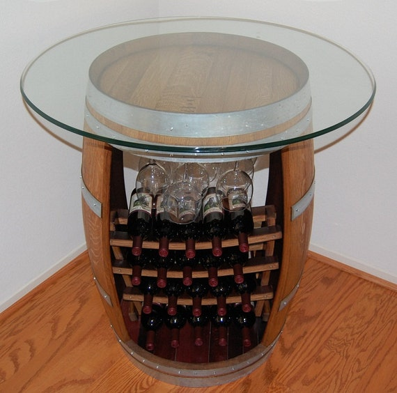 "Items similar to Wine Barrel Bar Table with 36"" Round"
