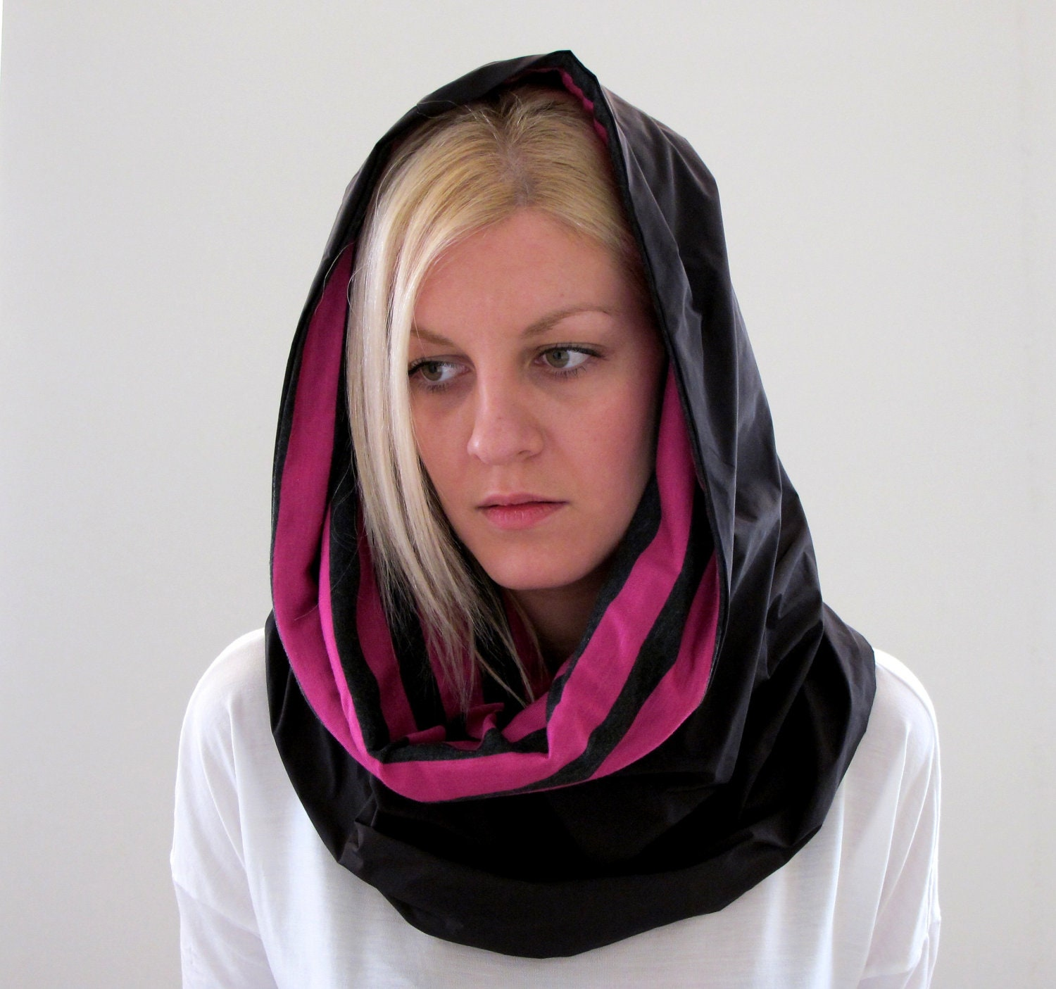 Scarf Cowl Neckwarmer Hood With Black Waterproof Fabric And