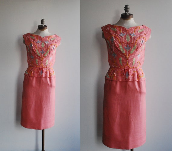 1950's Coral Salmon Pink Pastel Wiggle Dress with Peplum, Beaded and Sequined in Floral Design in Purple Green and Yellow with Pockets