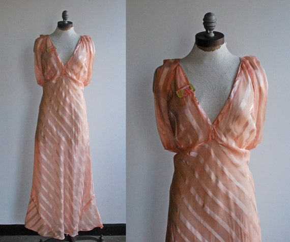 1940's Peach Salmon Coral Sheer Silk Satin Striped Bias Cut Nightgown with Deep V Neck and Beautiful Draping Large Plus Size