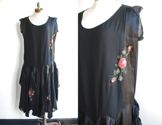 Beautiful 1920's Black Sheer Silk Satin Dropwaist Dress with Chenille Flower Embellishments and Oversized Scalloped Skirt