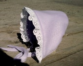 Newborn Lavender Baby Bonnet - GrandmaSherrysCloset